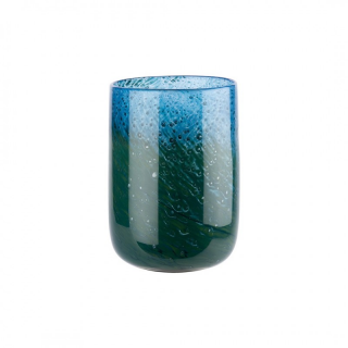 1O159 Váza Blue / Green Glass H22,5